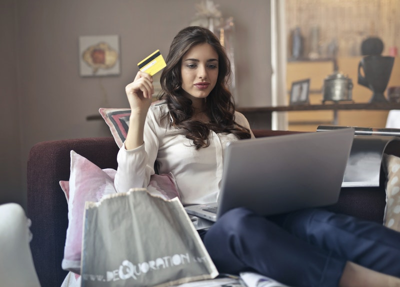 a woman with a credit card